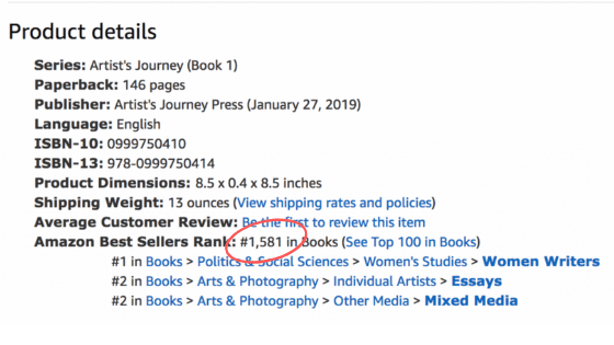 The Artist's Journey by Nancy Hillis, MD ranked #1581 out of over 1.8 million books on Amazon