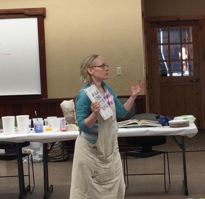Nancy Hillis teaching at Stanford Sierra Camp #creativity #abstractpainting